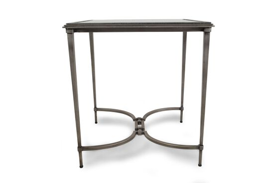 Glass Top Steel End Table in Silver