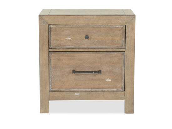 "29.5"" Contemporary Distressed Two-Drawer Nightstand in Light Oak"