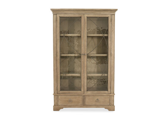 Two-Drawer Casual Display Curio with Puck Lights in Gray Cashmere