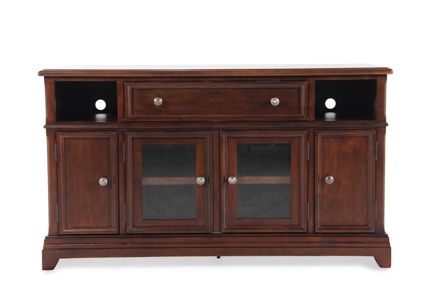 Four Door Traditional Large Tv Stand In Chocolate Brown