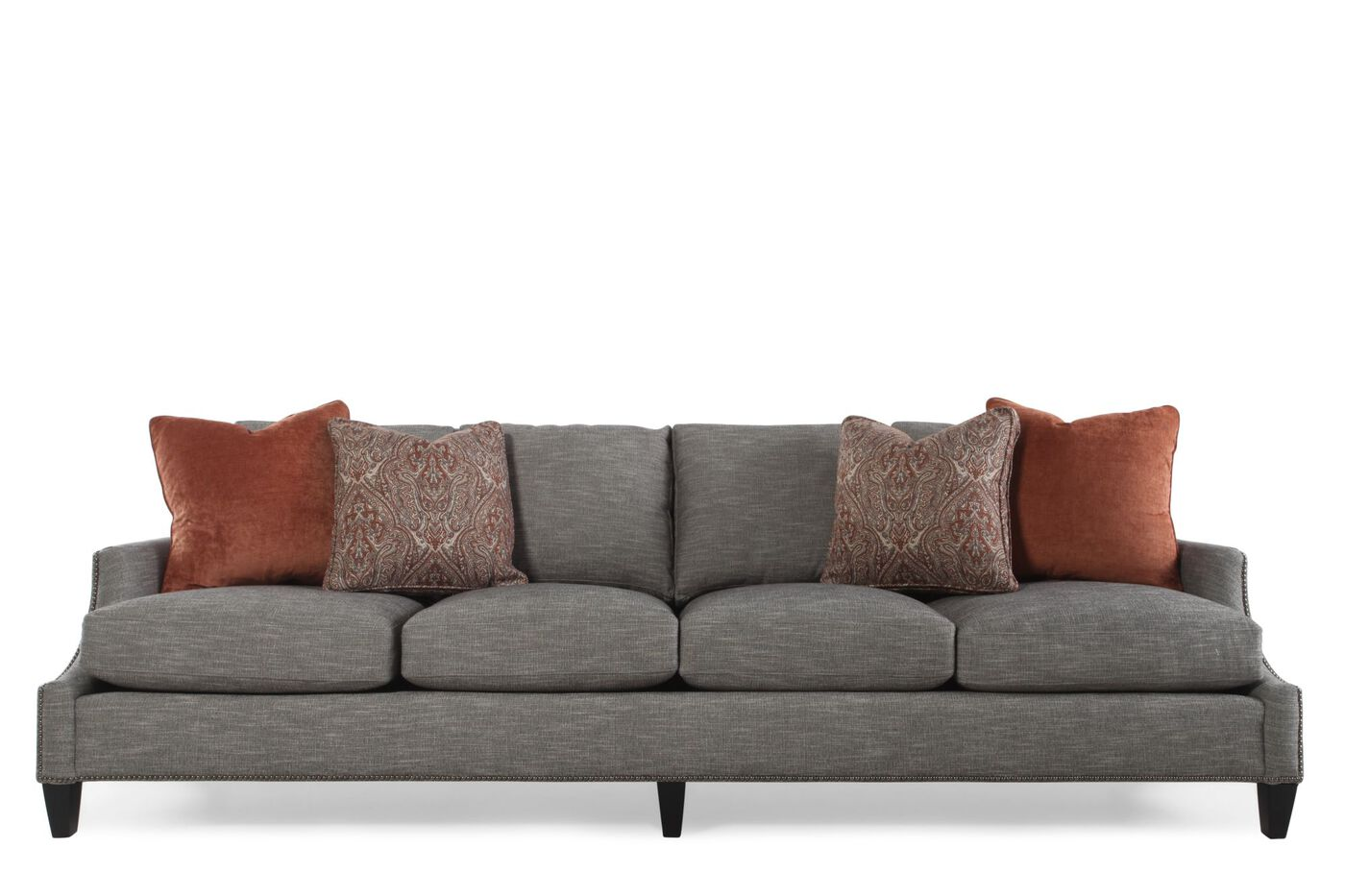 Nailhead accented four cushion 108 5 sofa in pearl gray for 4 living furniture