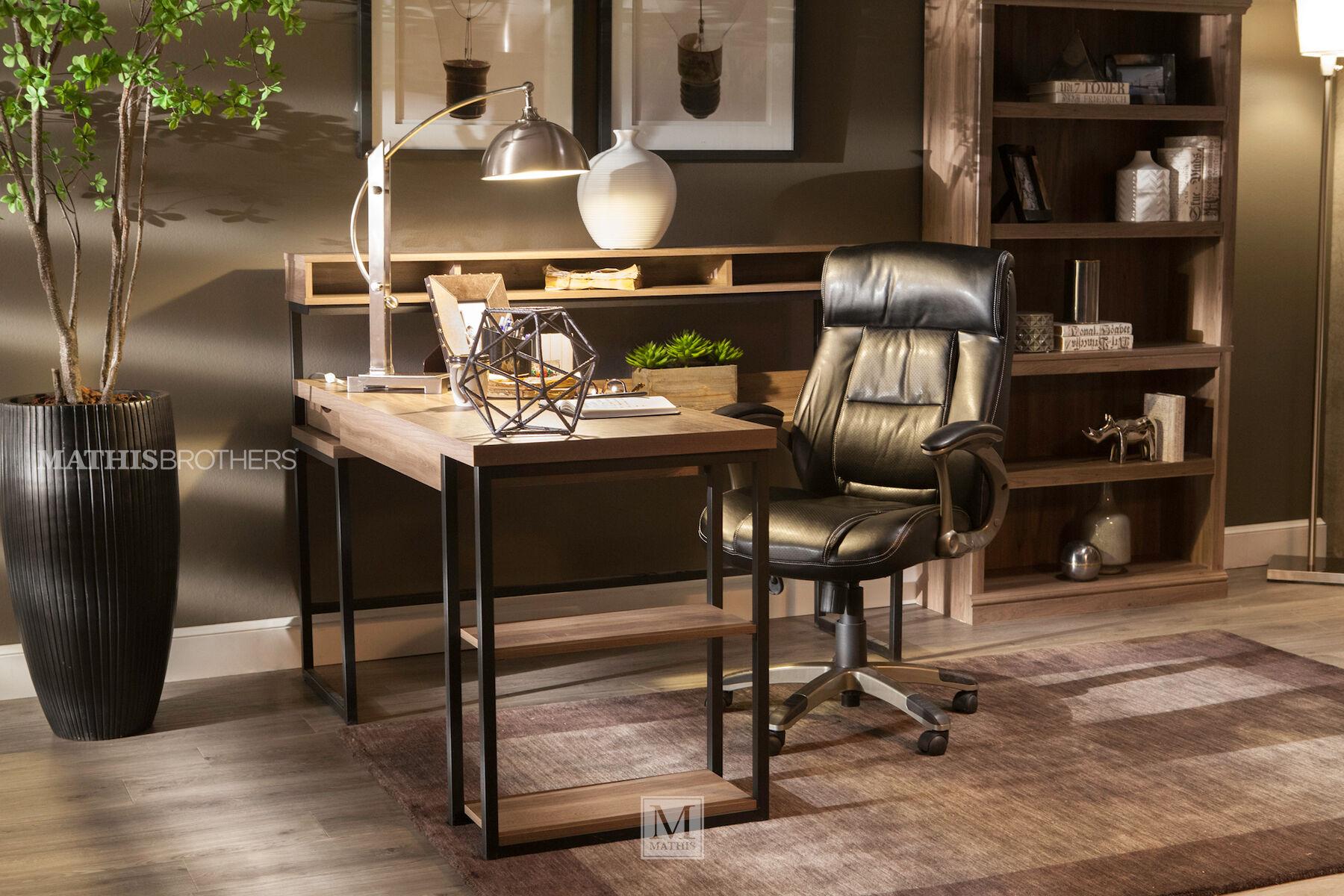 61 Casual LShaped Desk in Salt Oak Mathis Brothers Furniture