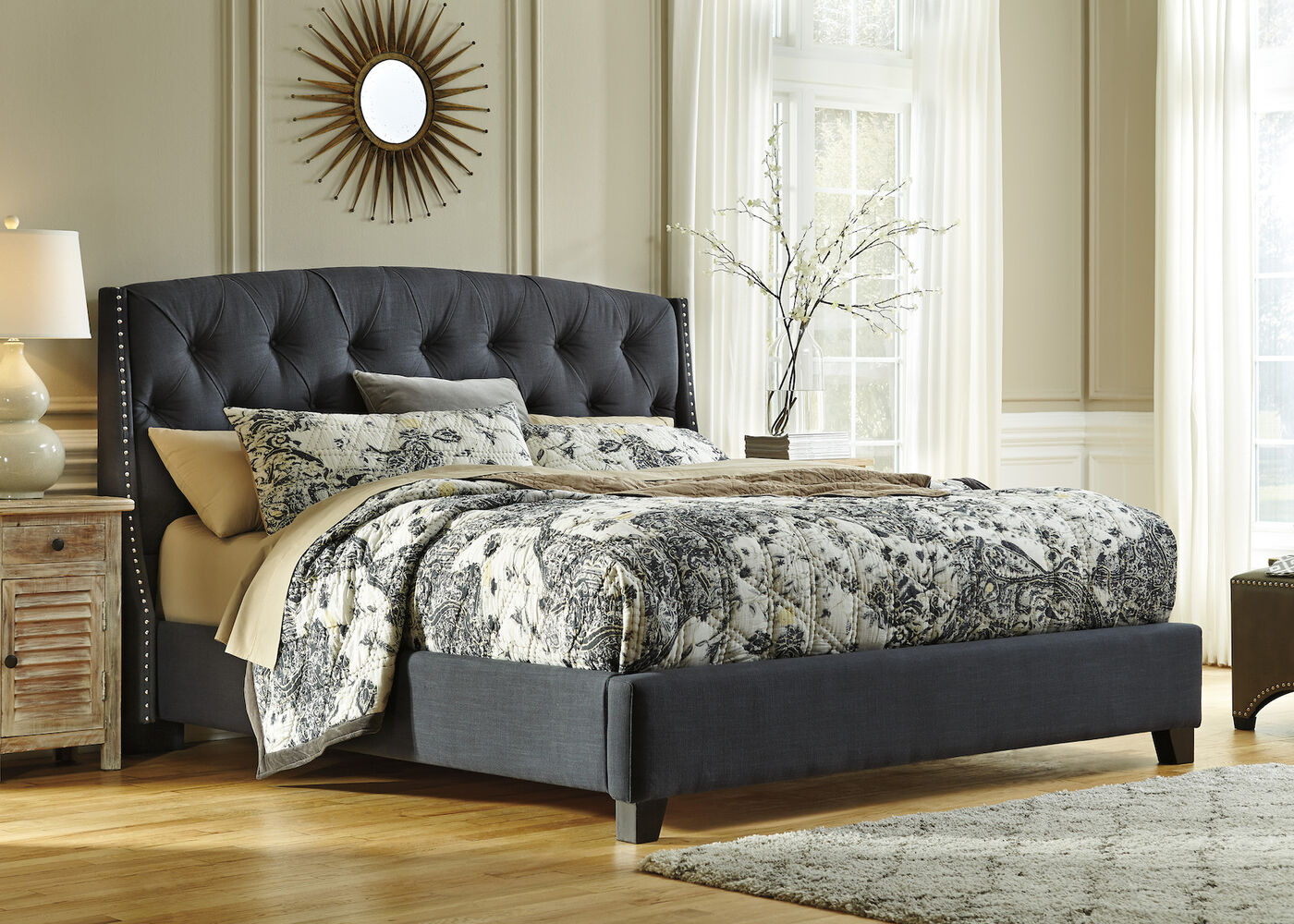 Design Tufted Bed ashley kasidon dark gray tufted bed mathis brothers furniture 56 button modern bed