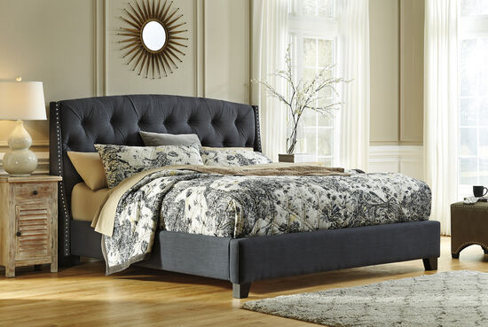 Ashley Kasidon Dark Gray Tufted Queen Bed