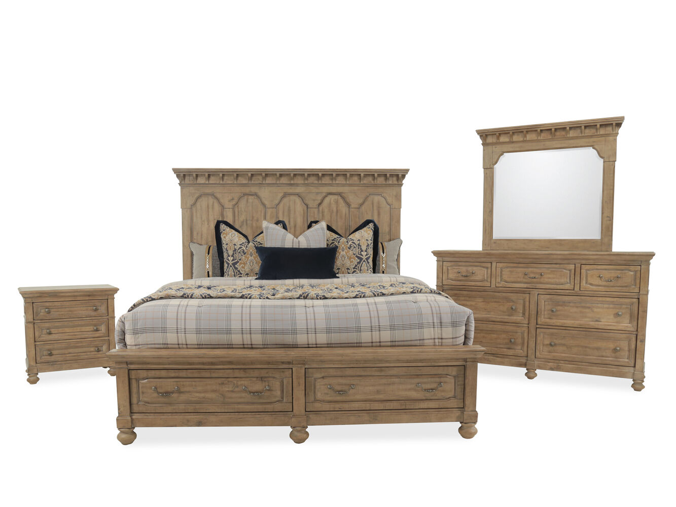 FourPiece Traditional Bedroom Set In Brown Mathis Brothers - Magnussen bedroom furniture reviews