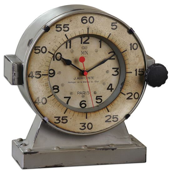 Distressed Quartz Table Clock in Aged Ivory