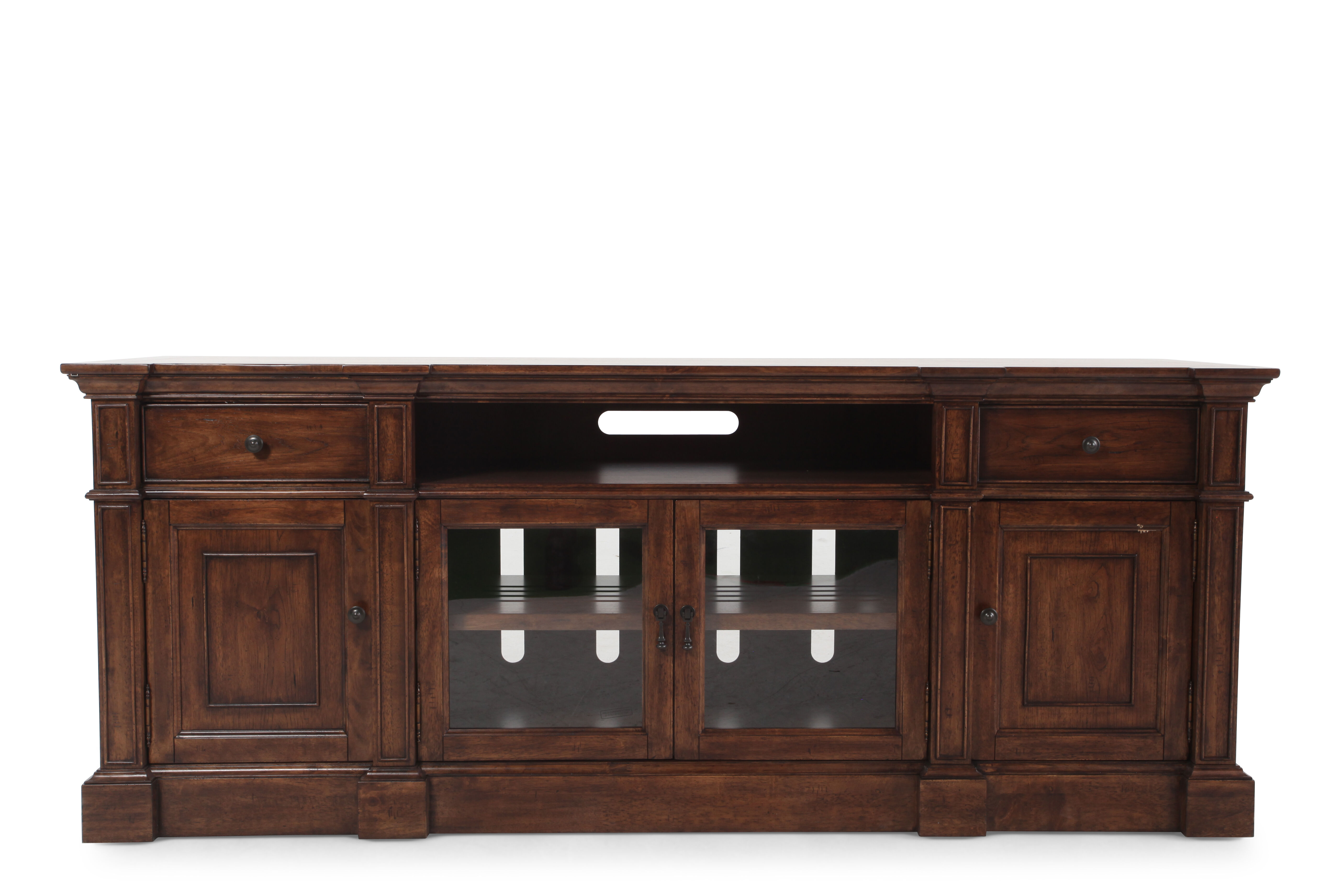 Two Glass Door Traditional Entertainment Console In Dark Brown