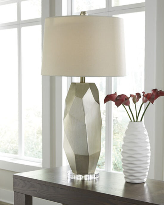 Textured Drum Shade Table Lamp in Silver