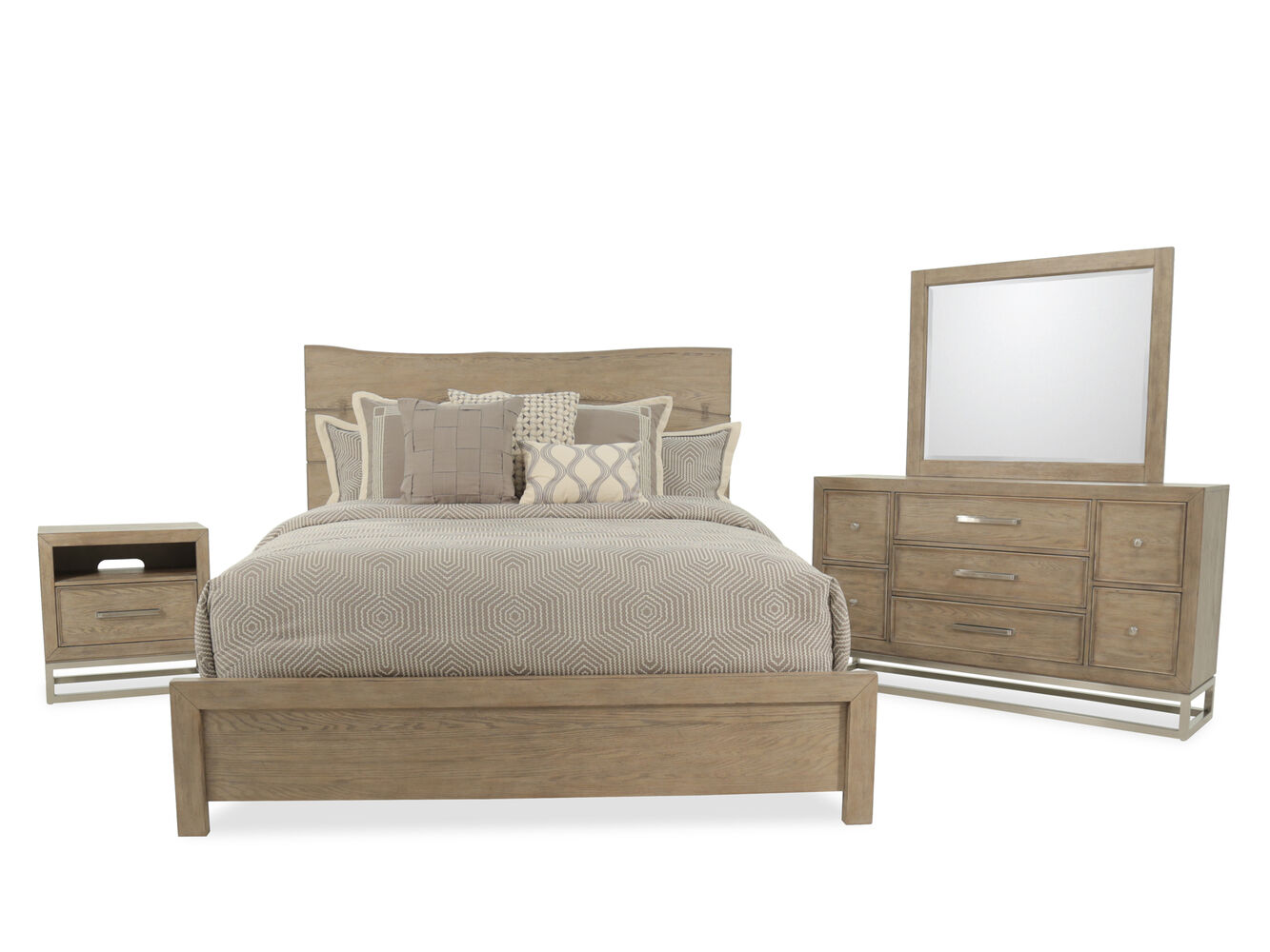 Four piece traditional bedroom set in light brown mathis for Traditional bedroom furniture