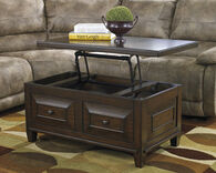 Lift-Top Rectangular Cocktail Table in Rustic Brown