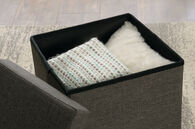 MB Home Fusionville Dark Gray Linen Upholstered Storage Ottoman