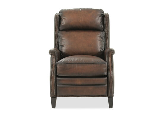 "Leather Nailhead Accented 30.5"" Pressback Recliner in Brown"