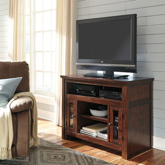 Mission-Style Traditional TV Stand in Reddish Brown