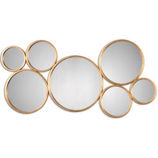 "24"" Welded Rings Wall Mirror in Antique Gold Leaf"