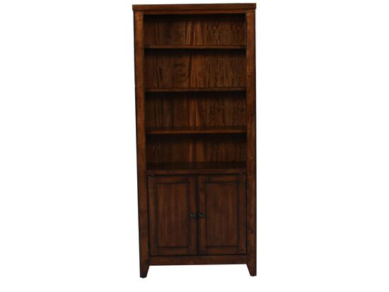 Two-Door Casual Bookcase in Saddle Brown