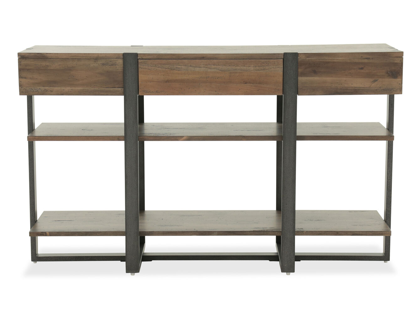 Two Open Shelf Industrial Sofa Table In Rustic Honey