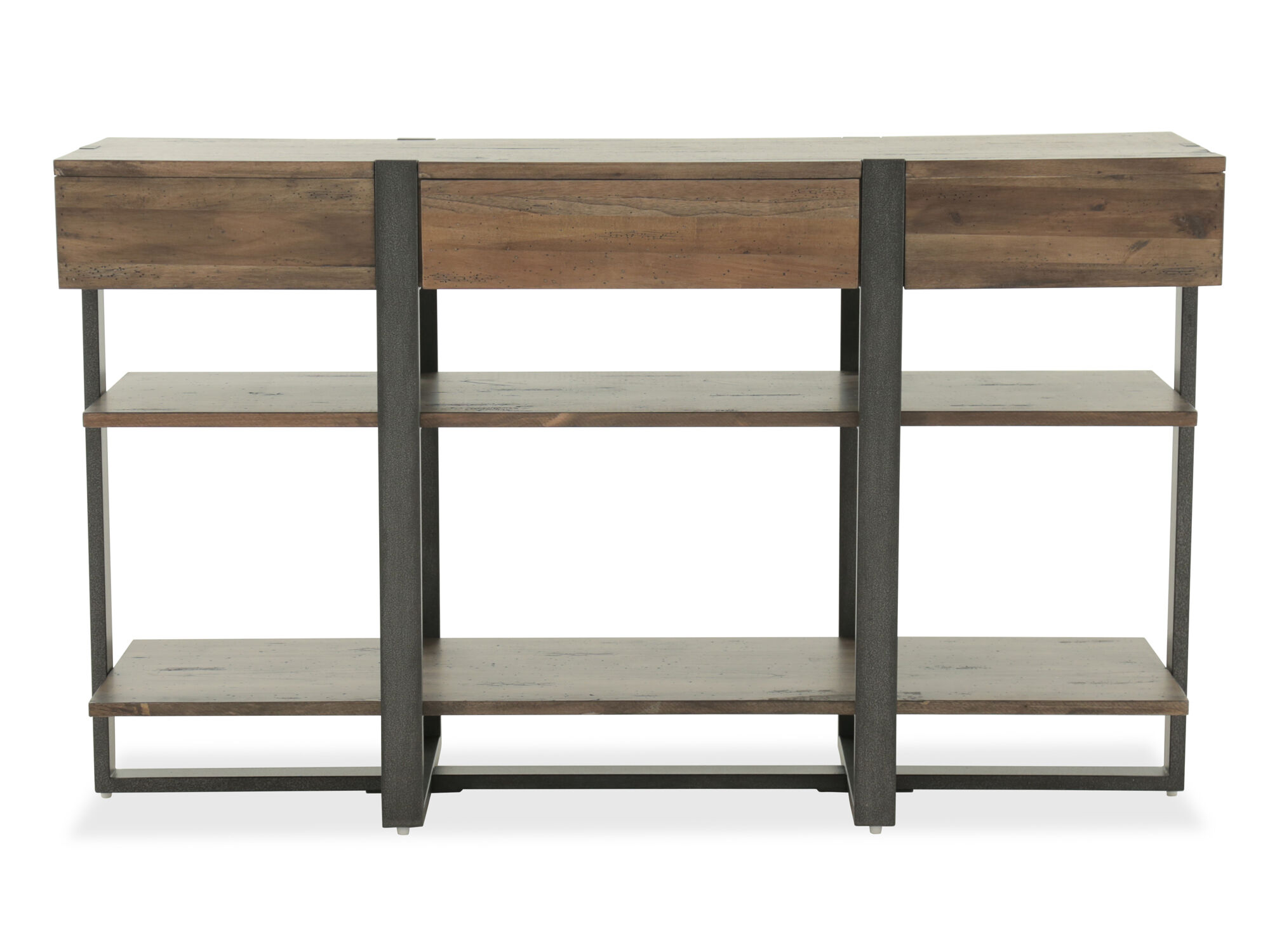 Images Two Open Shelf Industrial Sofa Table In Rustic Honey ...