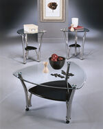 Three-Piece Contemporary Accent Table Set in Silver