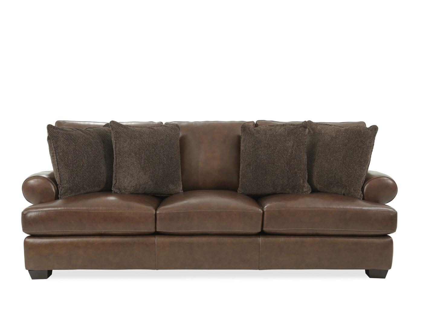 Bernhardt Tyson Brown Leather Sofa