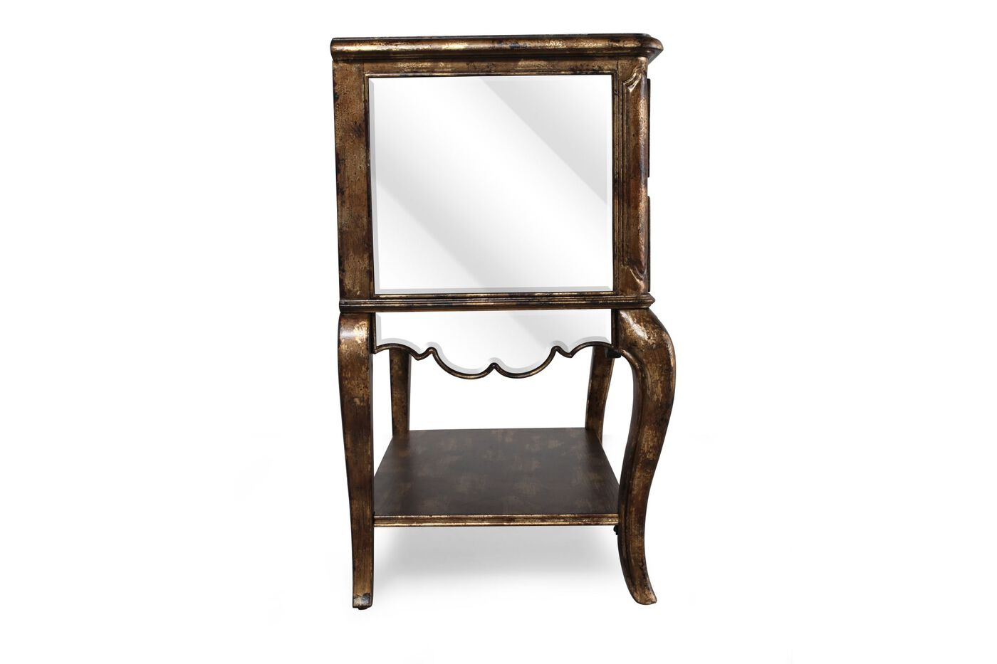 """32"""" Transitional Mirrored Nightstand In Gold"""