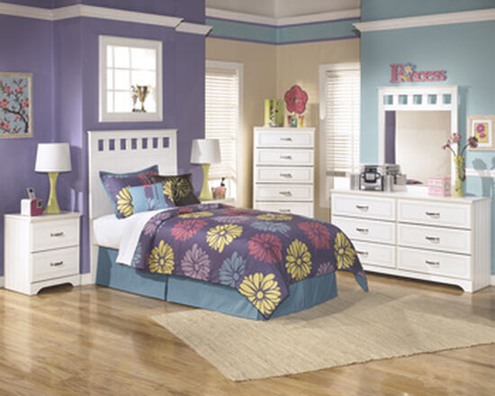 Casual Two-Drawer Youth Nightstand in White