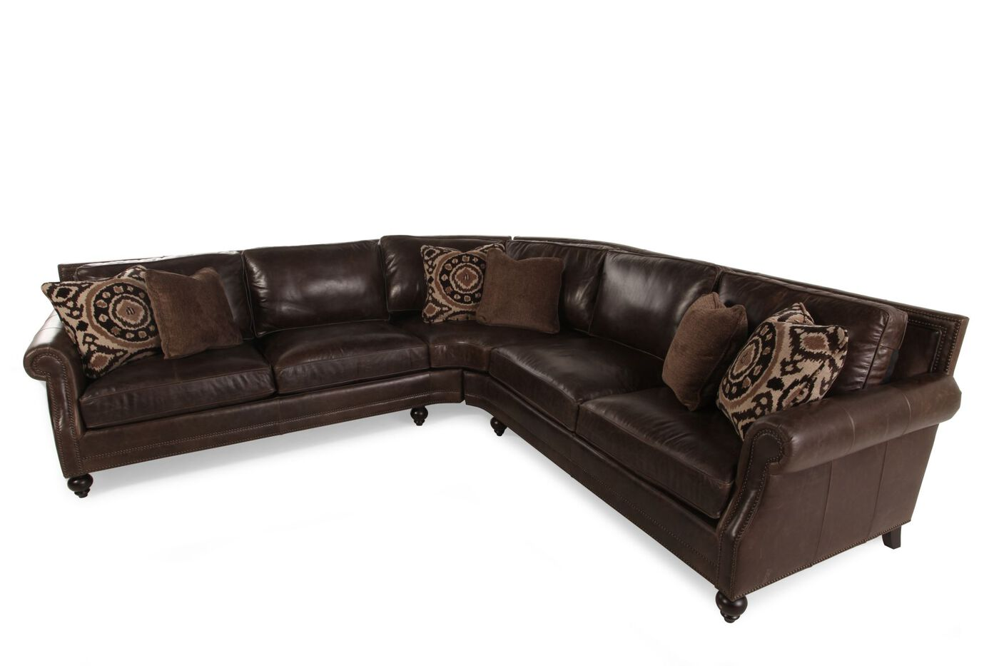 "two-piece leather 119"" sectional in dark brown 