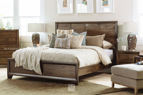 "57"" Basket Weave Contemporary Panel Bed in Brown"
