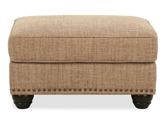 Nailhead-Trimmed Casual Ottoman in Beige