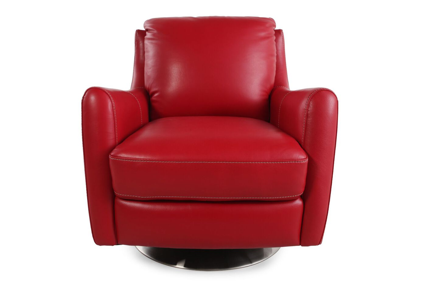 La Z Boy Xavier Red Leather Swivel Chair