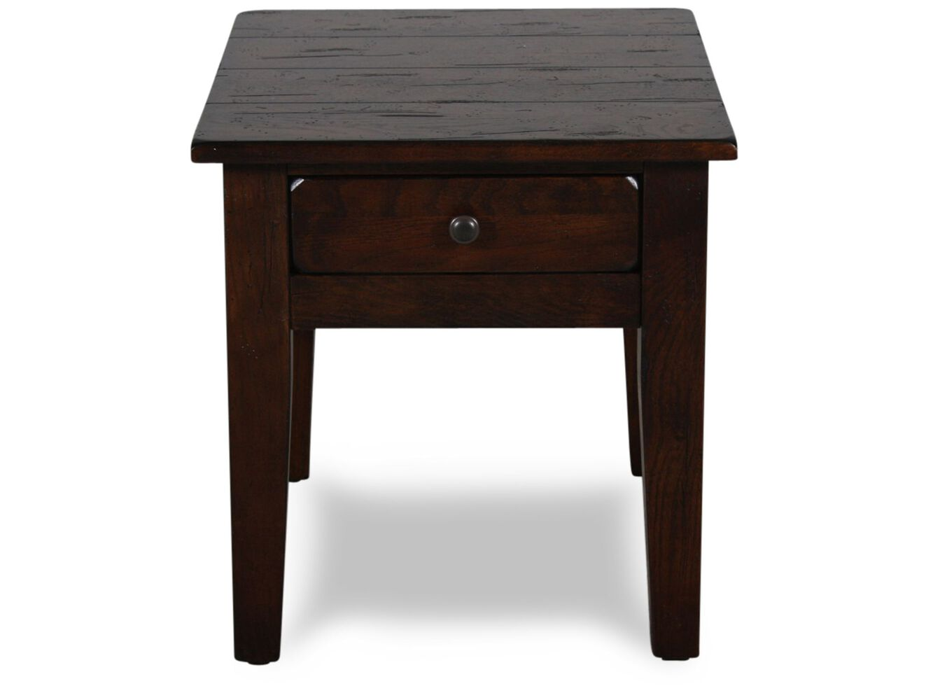 Textured Square Country End Table In Dark Oak