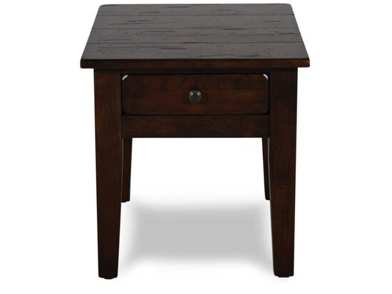 Textured Square Country End Tablein Dark Oak
