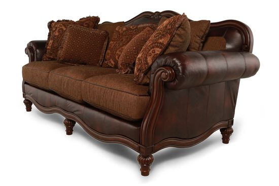 """Traditional 91"""" Rolled Arm Sofa in Brown"""