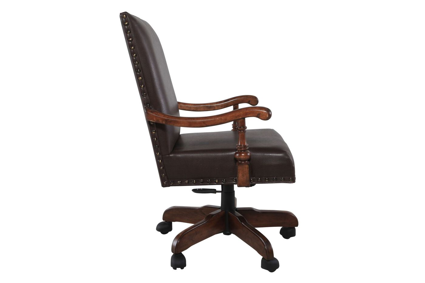 Swivel office chair in burnished medium brown mathis for Swivel chairs for office