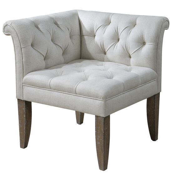 "Button-Tufted 29"" Rolled-Arm Corner Chair in Ecru"