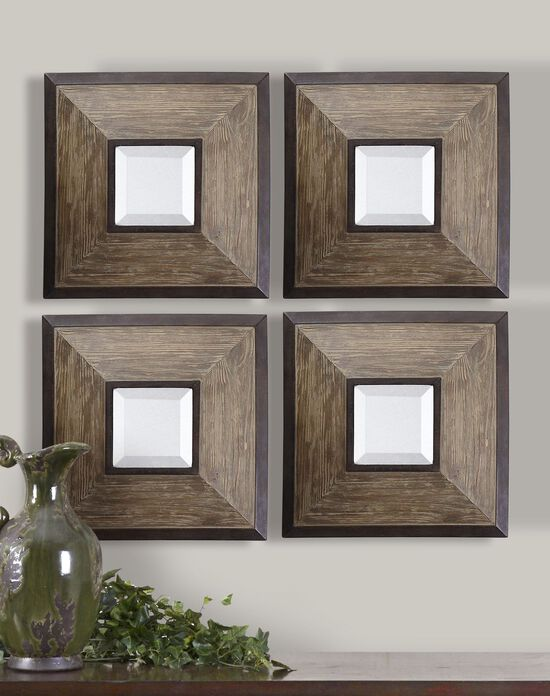 """Four-Piece 16"""" Distressed Accent Mirrors in Aged Pecan"""