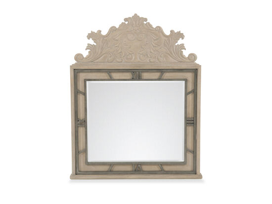 """58"""" Casual Clock Detailed Accent Mirror in Brown"""