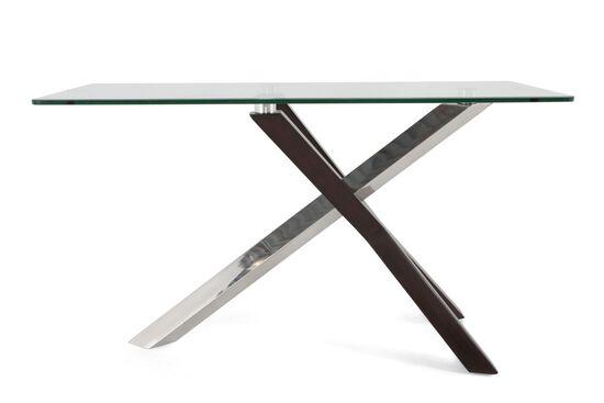 Rectangular Glass Top Contemporary Sofa Table in Silver