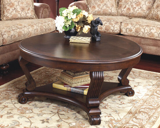 Round Traditional Cocktail Table in Dark Brown