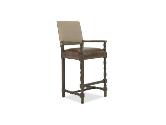 """Nailhead Accented 48"""" Bar Stool in Brown"""