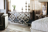 Pierced Pedestals Transitional Console Table in White