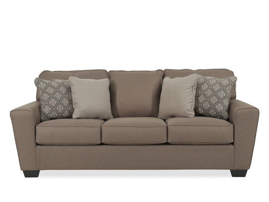 """Contemporary 87"""" Three-Seater Sofa in Brown"""
