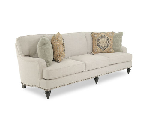 "Traditional Nailhead-Accented 99"" Sofa in Cream"