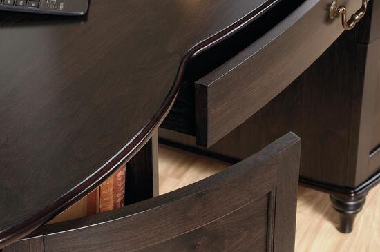 "59.5"" Three-Drawer Solid Wood Computer Desk in Jamocha Wood"