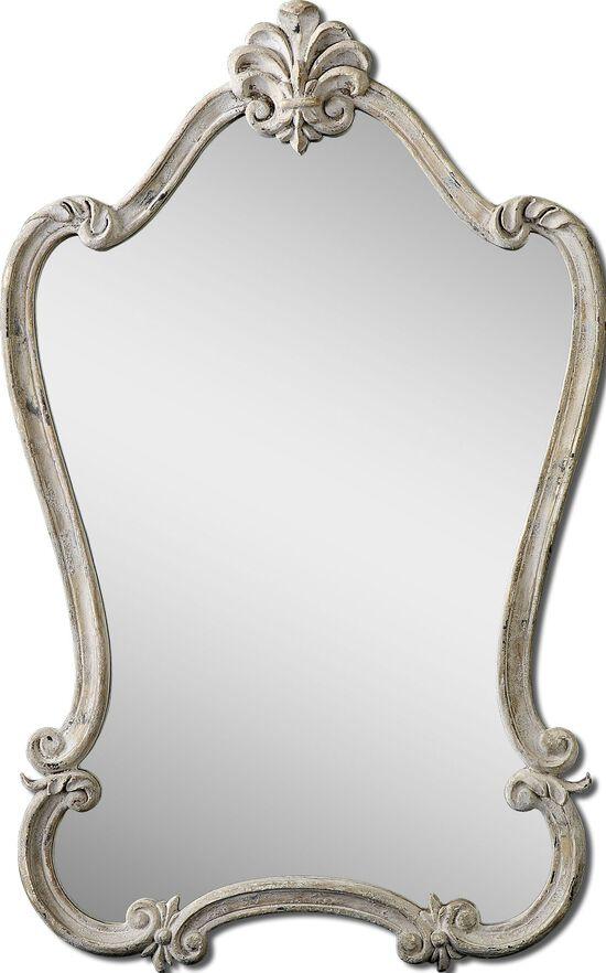 36'' Fleur-De-Lis Top Accent Mirror in Antique White