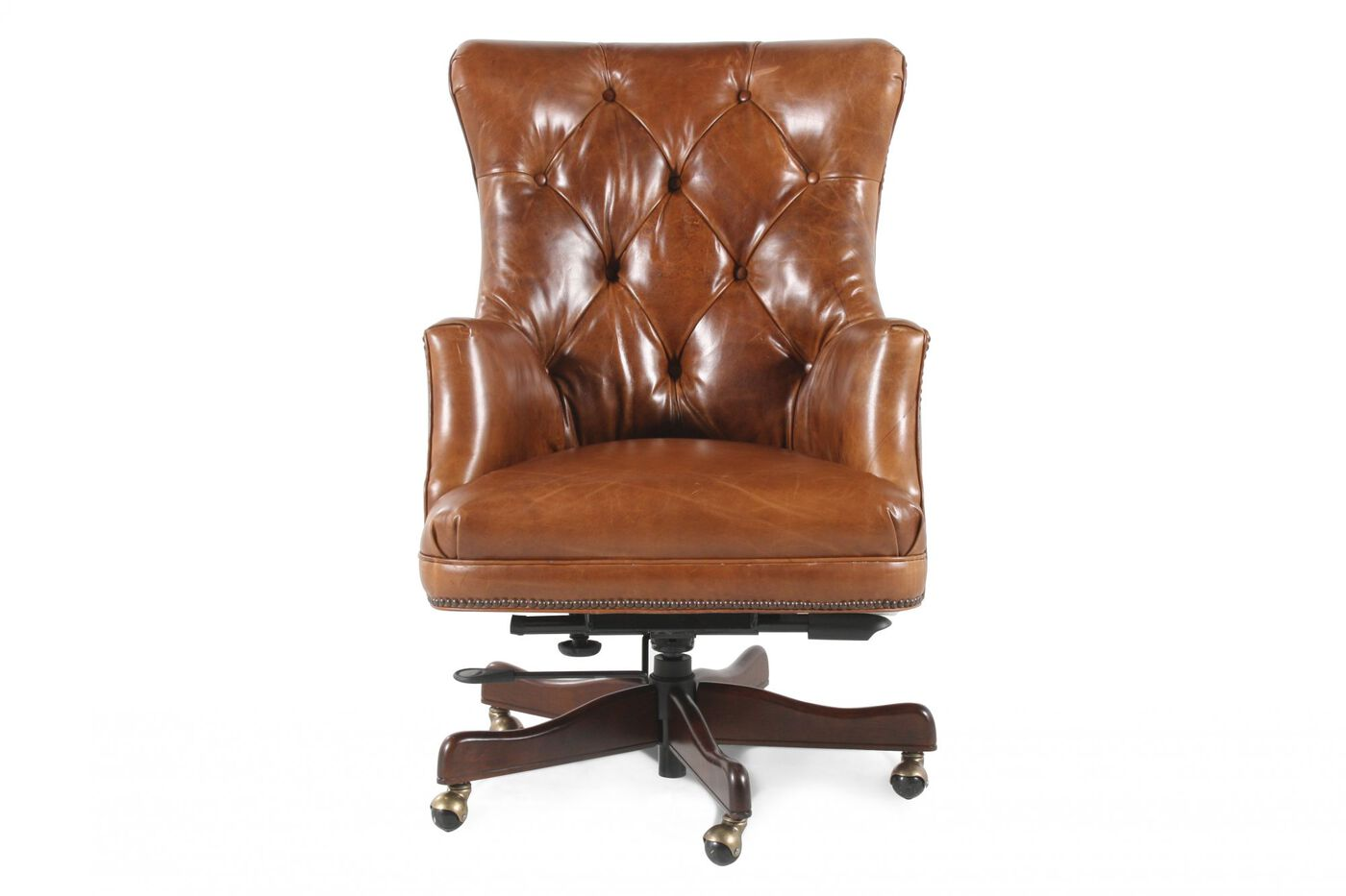 Leather Tufted Executive Swivel Tilt Chair in Medium Brown ...