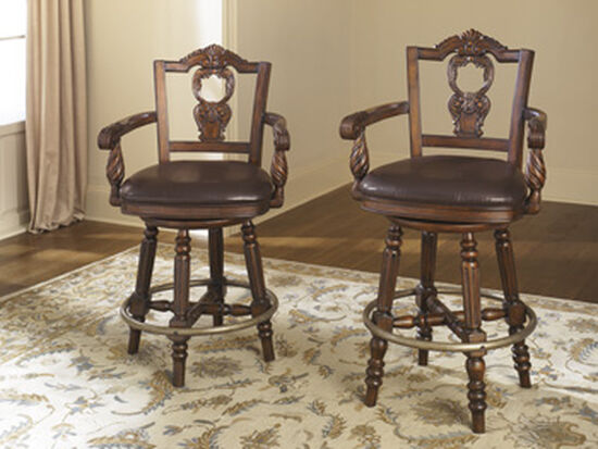 """Traditional 46"""" Swivel Bar Stool in Brown"""