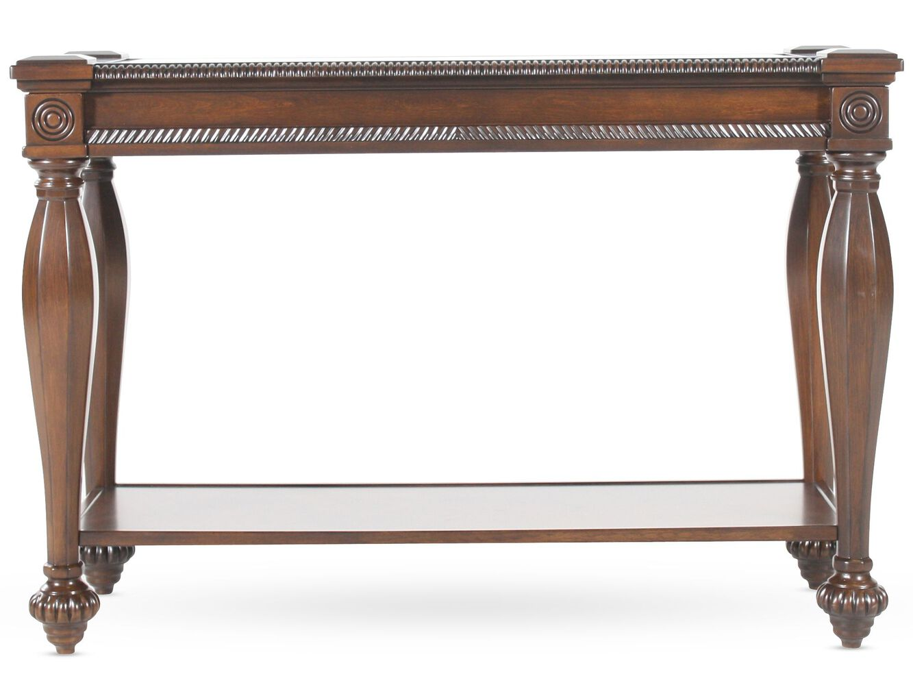 Rope trimmed sides traditional console table in cherry Traditional console tables living room