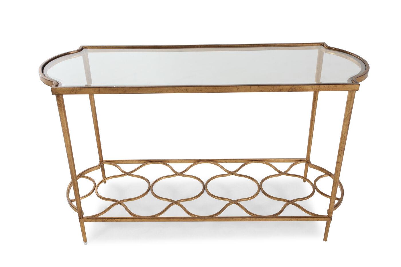 Quatrefoil Base Transitional Sofa Table In Aged Gold Mathis  ~ Transitional Sofa Tables