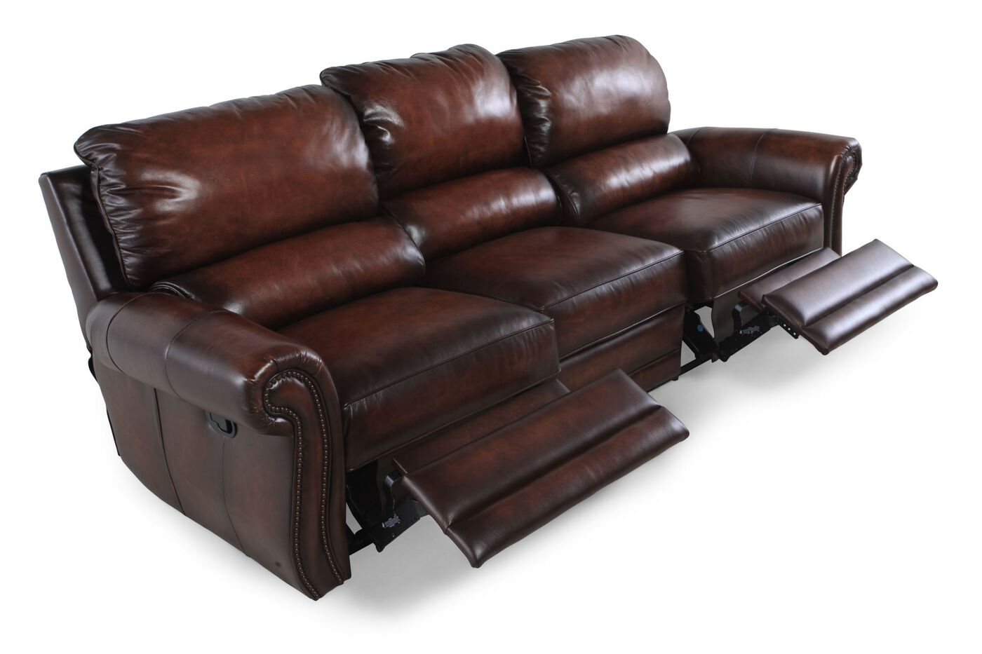 Double reclining leather sofa homelegance quinn double for Sectional sofa with double recliner