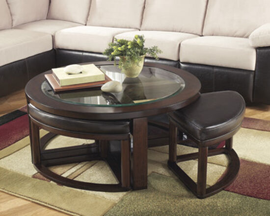 Five-Piece Contemporary Cocktail Table and Stool Set in Dark Brown